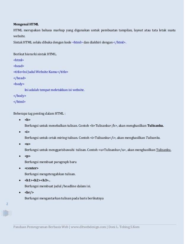 Panduan Pemrograman Berbasis Web dengan HTML, PHP, dan Database MySQL Slide 2