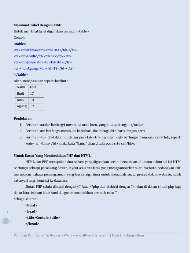 Panduan Pemrograman Berbasis Web dengan HTML, PHP, dan Database MySQL Slide 3