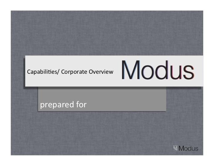 Modus Create Corporate Capabilities