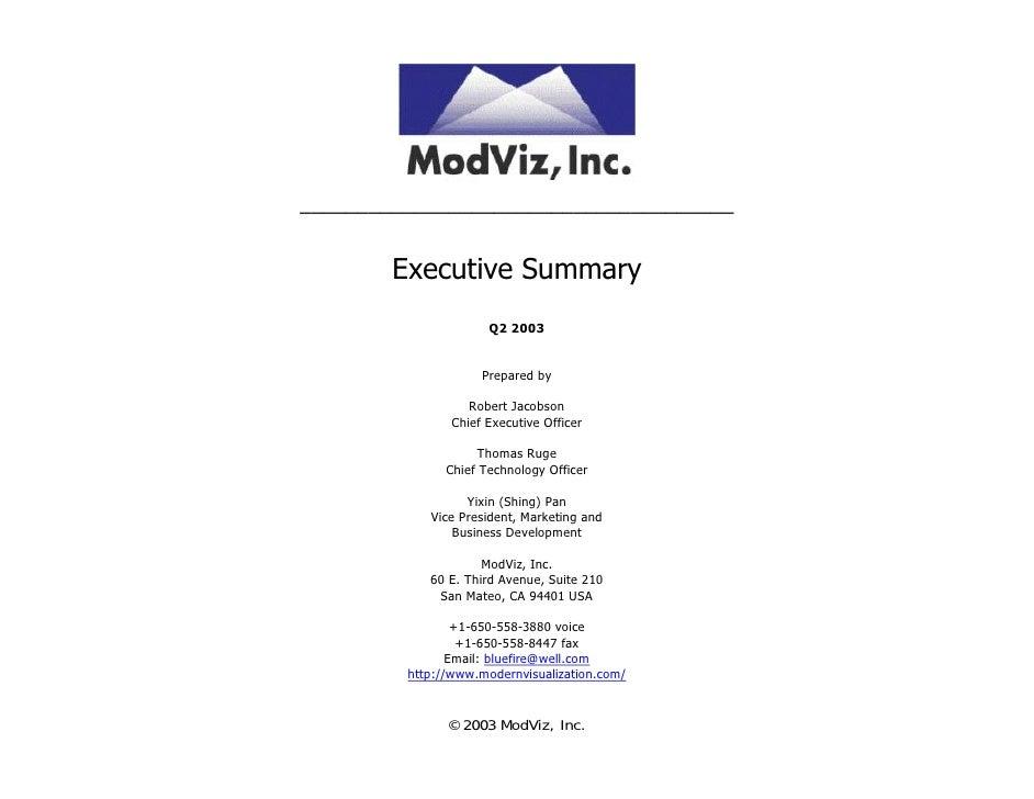 ______________________________________           Executive Summary                       Q2 2003                        Pr...