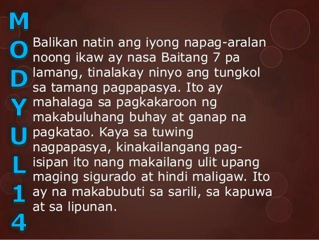 Balikan natin ang iyong napag-aralan noong ikaw ay nasa Baitang 7 pa lamang, tinalakay ninyo ang tungkol sa tamang pagpapa...