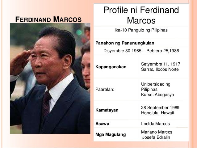 Talambuhay ng dating pangulong ferdinand marcos martial law
