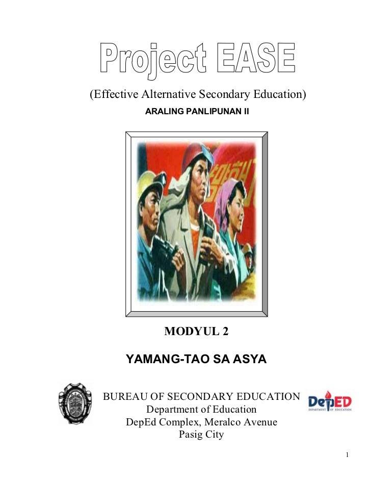(Effective Alternative Secondary Education)          ARALING PANLIPUNAN II              MODYUL 2       YAMANG-TAO SA ASYA ...