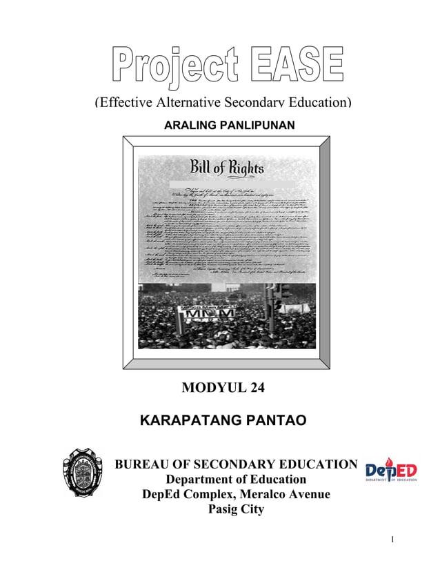 1 ARALING PANLIPUNAN (Effective Alternative Secondary Education) BUREAU OF SECONDARY EDUCATION Department of Education Dep...