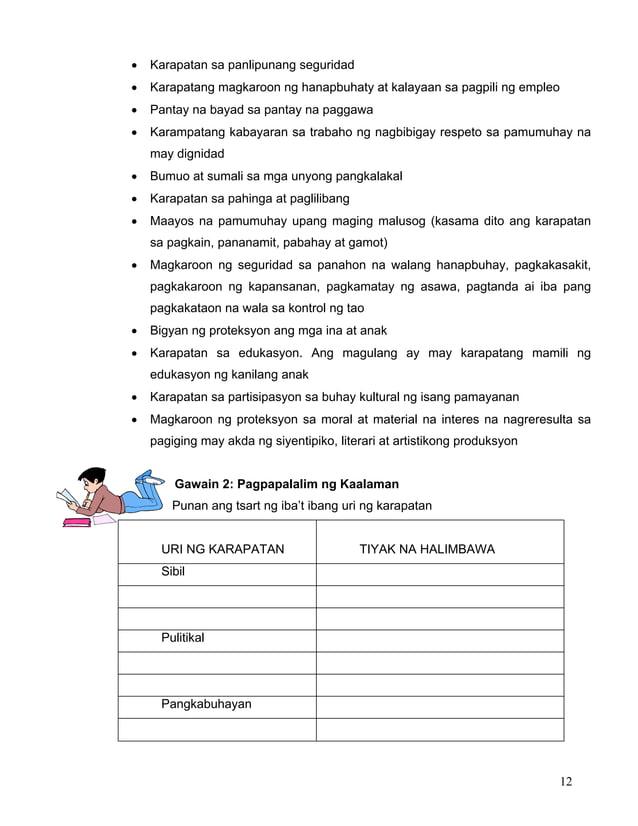 12 • Karapatan sa panlipunang seguridad • Karapatang magkaroon ng hanapbuhaty at kalayaan sa pagpili ng empleo • Pantay na...