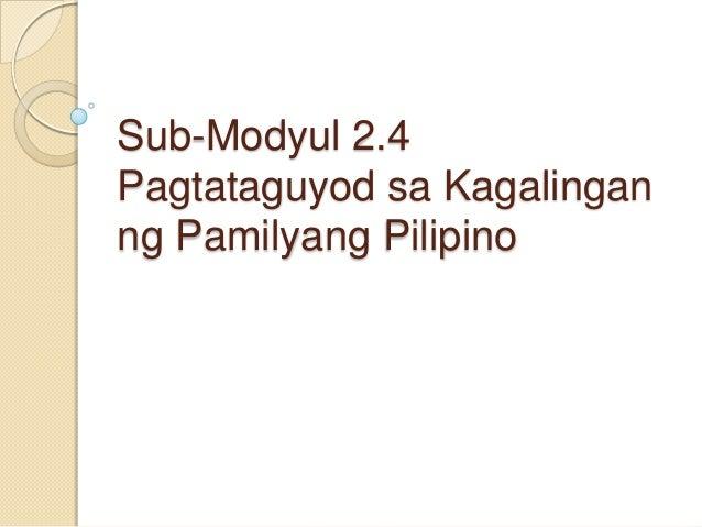 Sub-Modyul 2.4 Pagtataguyod sa Kagalingan ng Pamilyang Pilipino