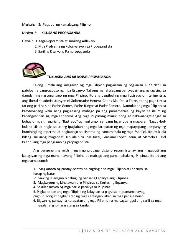 Markahan 2: Pagsibol ng Kamalayang Pilipino Modyul 3:  KILUSANG PROPAGANDA  Gawain: 1. Mga Repormista at Kanilang Adhikain...
