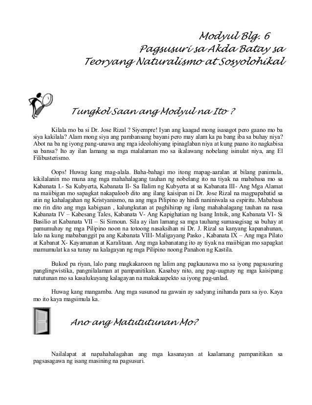 Modyul Blg. 6 Pagsusuri sa Akda Batay sa Teoryang Naturalismo at Sosyolohikal Tungkol Saan ang Modyul na Ito ? Kilala mo b...
