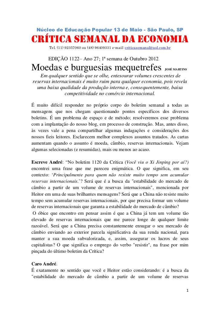 Núcleo de Educação Popular 13 de Maio - São Paulo, SP                             .CRÍTICA SEMANAL DA ECONOMIA         Tel...
