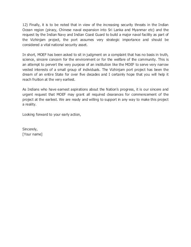 Letter To MoEF For Environmental Clearance Of The Vizhinjam Project