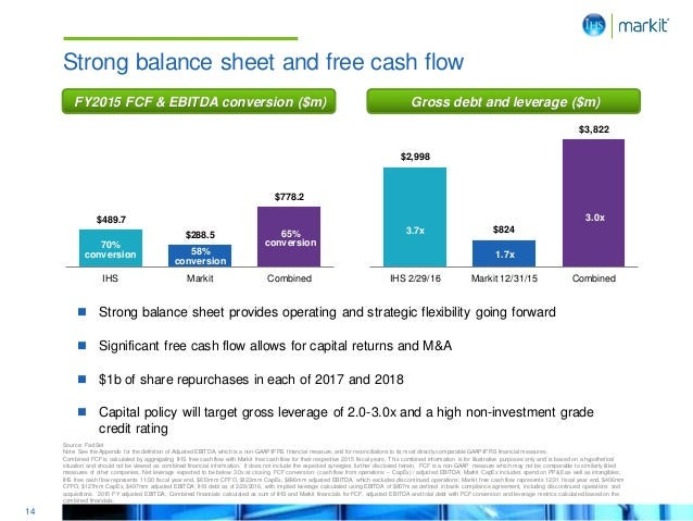 14 $489.7 $288.5 $778.2 IHS Markit Combined 70% conversion 65% conversion 58% conversion Source: FactSet Note: See the App...