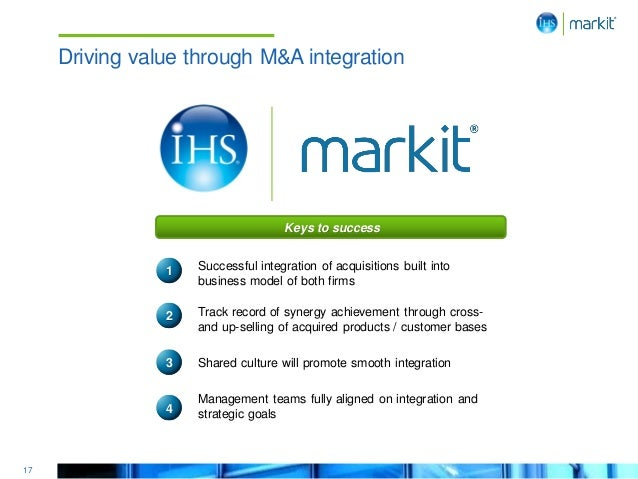 17 Driving value through M&A integration Successful integration of acquisitions built into business model of both firms Tr...