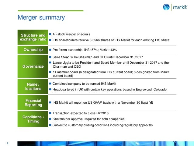 9 Merger summary Structure and exchange ratio  All-stock merger of equals  IHS shareholders receive 3.5566 shares of IHS...