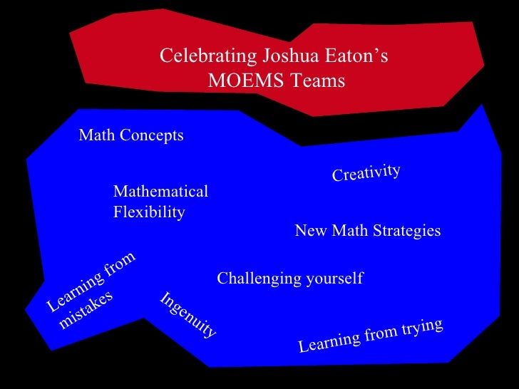 Celebrating Joshua Eaton's  MOEMS Teams Math Concepts Learning from mistakes Ingenuity Creativity Mathematical Flexibility...