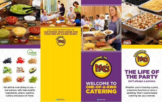Welcome to one-of-a-kind catering Whether you're hosting a party, a business function or even a wedding, Moe's customizabl...