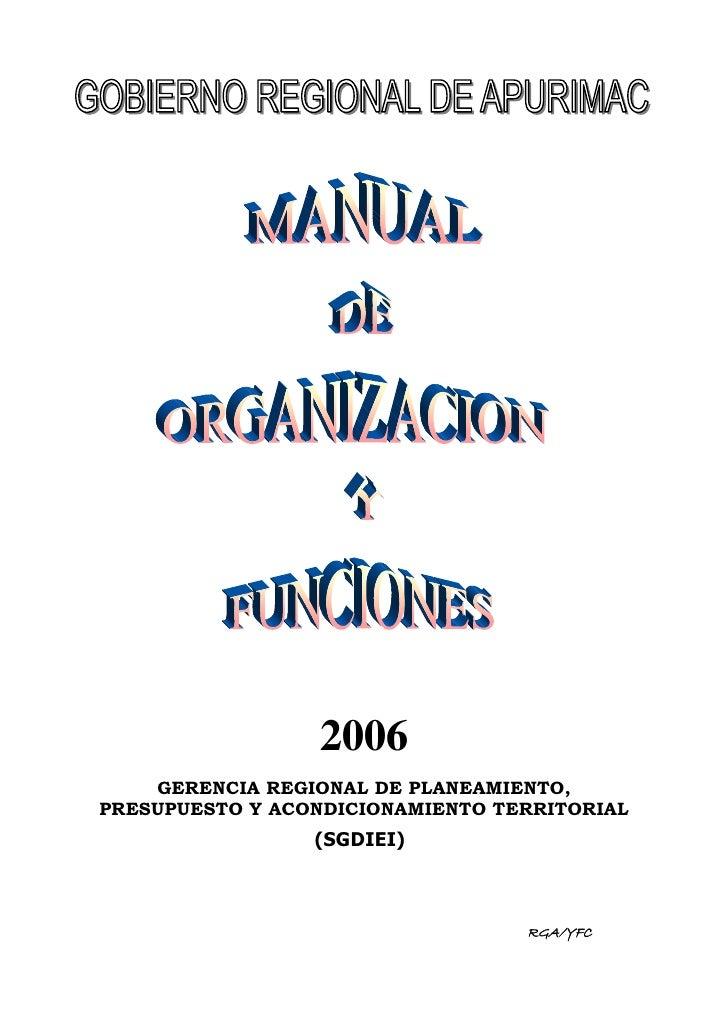 2006     GERENCIA REGIONAL DE PLANEAMIENTO, PRESUPUESTO Y ACONDICIONAMIENTO TERRITORIAL                  (SGDIEI)         ...