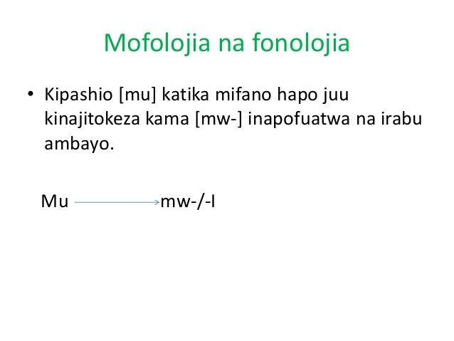 Mofolojia na fonolojia • Kipashio [mu] katika mifano hapo juu kinajitokeza kama [mw-] inapofuatwa na irabu ambayo.  Mu  mw...