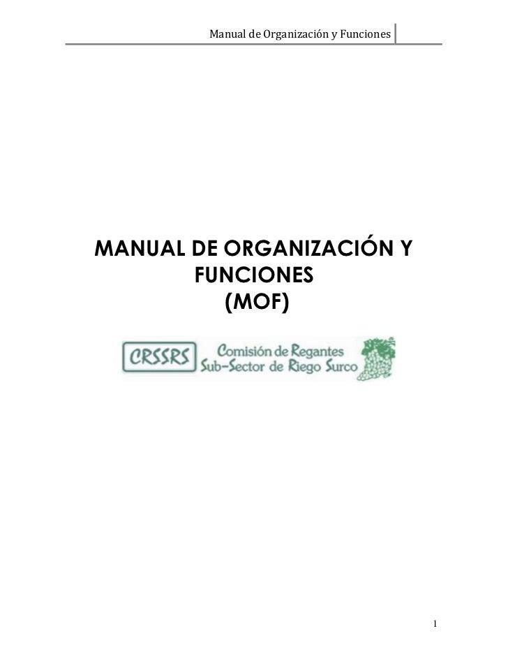 Manual de Organización y FuncionesMANUAL DE ORGANIZACIÓN Y       FUNCIONES          (MOF)                                 ...