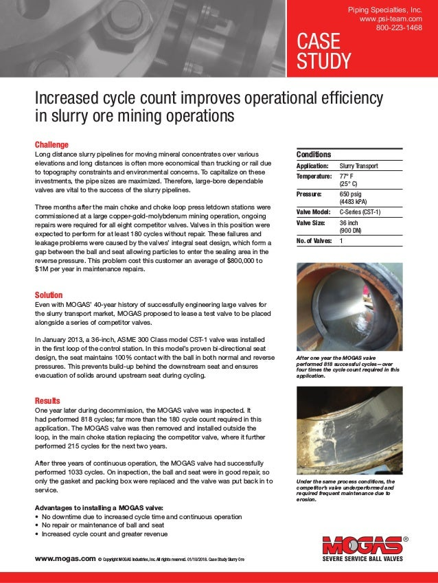 www.mogas.com © Copyright MOGAS Industries, Inc. All rights reserved. 01/10/2018. Case Study Slurry Ore CASE STUDY Challen...