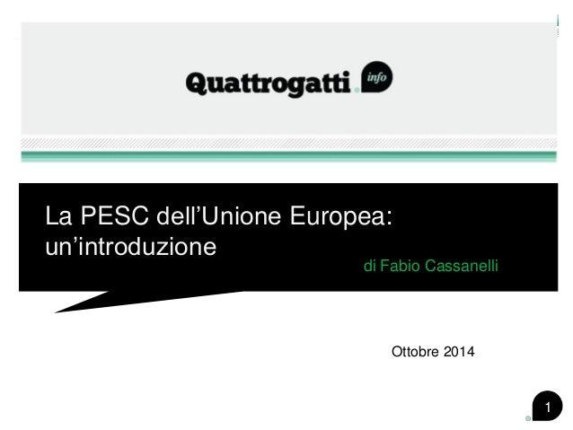 La PESC dell'Unione Europea: un'introduzione  di Fabio Cassanelli  1  Ottobre 2014