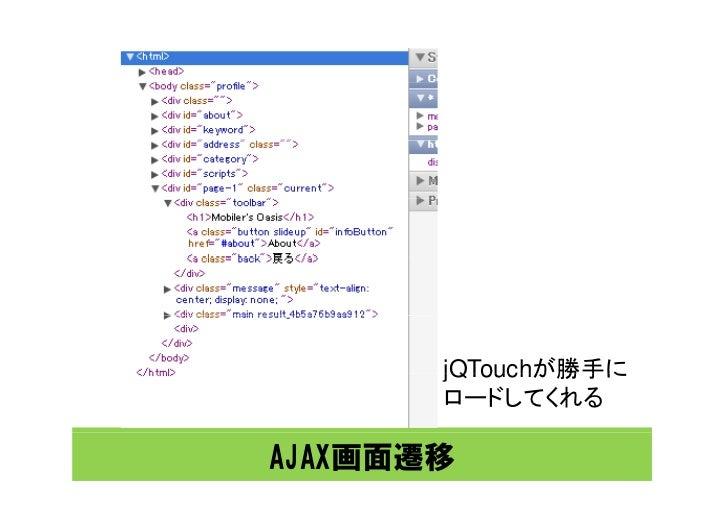 jQTouchが勝手に        ロードしてくれる  AJAX画面遷移