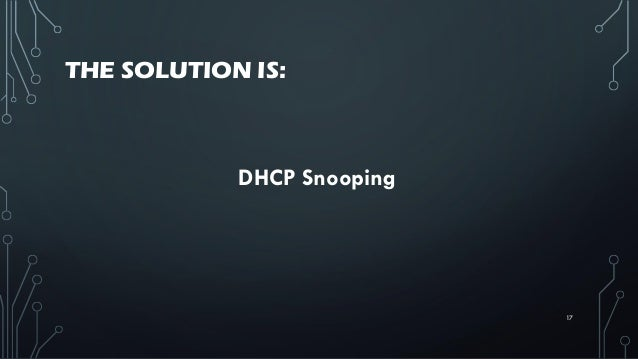 THE SOLUTION IS: DHCP Snooping 17