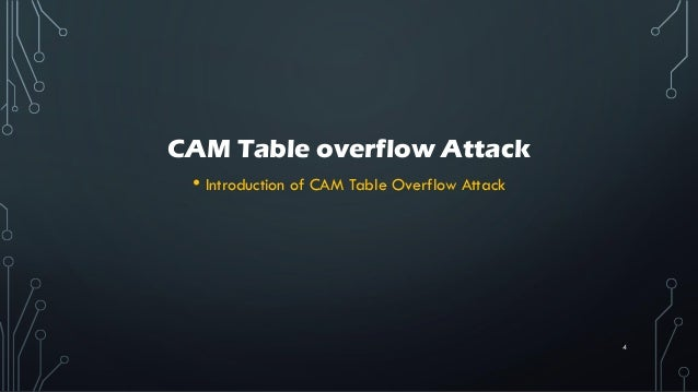 CAM Table overflow Attack • Introduction of CAM Table Overflow Attack 4