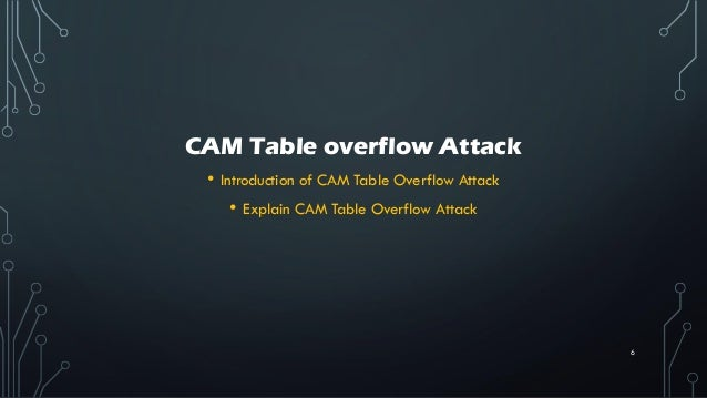 CAM Table overflow Attack • Introduction of CAM Table Overflow Attack • Explain CAM Table Overflow Attack 6