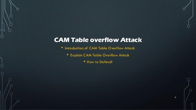 CAM Table overflow Attack • Introduction of CAM Table Overflow Attack • Explain CAM Table Overflow Attack • How to Defend!...