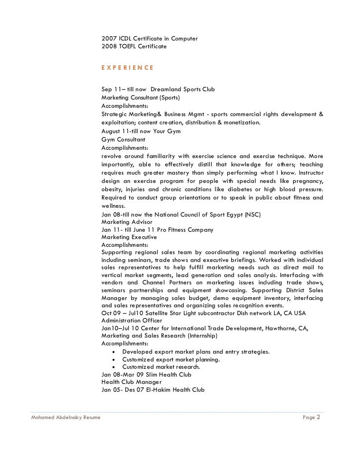 Resume For Mohamed Abdelnaby 2011