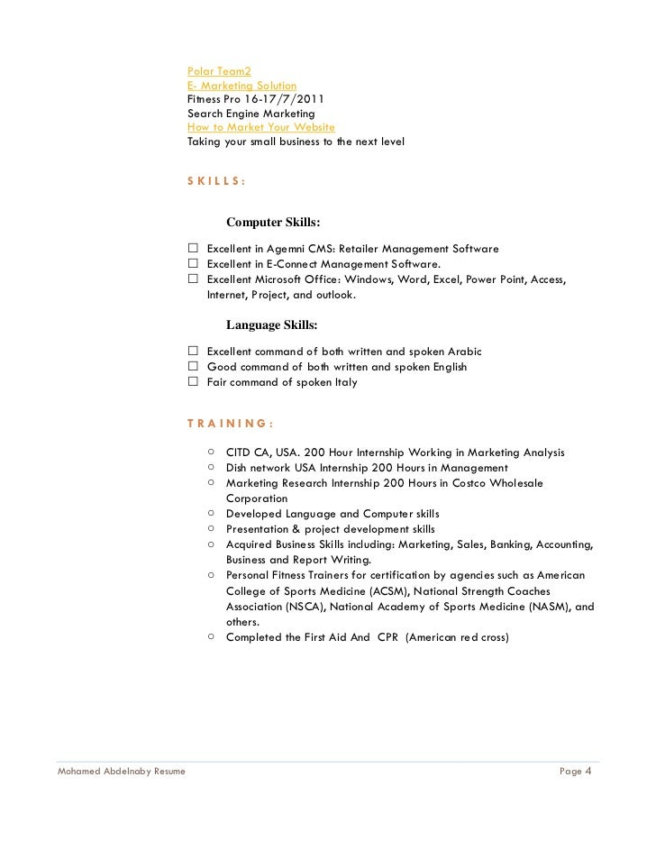 Fitness Instructor Resume Samples VisualCV Resume Samples Database  Sample Resume Outline