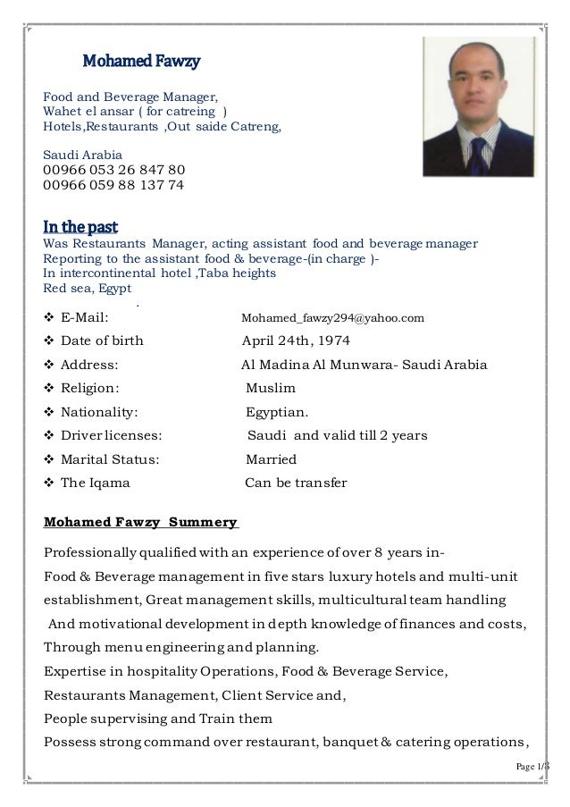 Page 1/8 Mohamed Fawzy Food And Beverage Manager, Wahet El Ansar ( For ...  Banquet Manager Resume