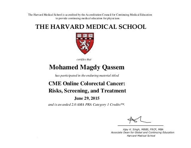 "Cme Online Colorectal Cancer Certificate ""Harvard Medical School"""