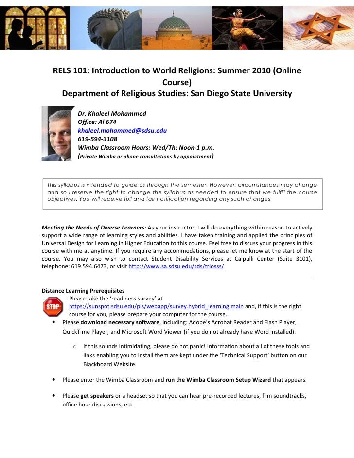 RELS 101: Introduction to World Religions: Summer 2010 (Online                                Course)       Department of ...