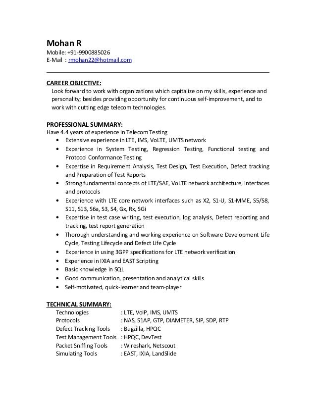 mohan r resume