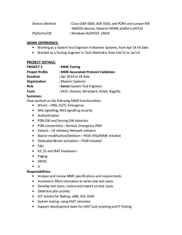 mohan r resume - Cisco Test Engineer Sample Resume