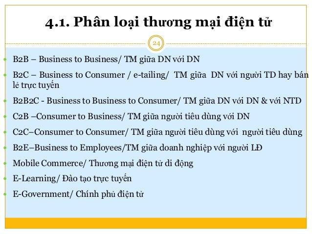 4.1.1. Mô hình thương mại điện tử B2C • Mô hình thương mại điện tử mà tại đó doanh nghiệp sẽ cung cấp dịch vụ và hàng hóa ...