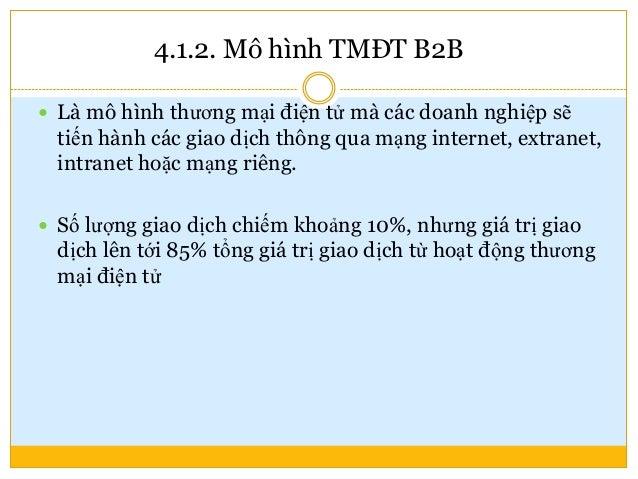 4.1.2. Một số mô hình TMĐT B2B chính  Mô hình phân phối trực tuyến  Mô hình mua sắm trực tuyến  Mô hình sàn giao dịch