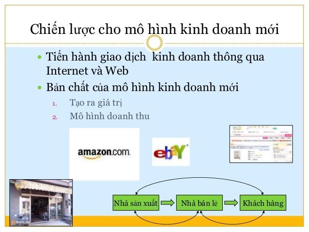 Chiến lược cho mô hình kinh doanh mới  Tiến hành giao dịch kinh doanh thông qua Internet và Web  Bản chất của mô hình ki...