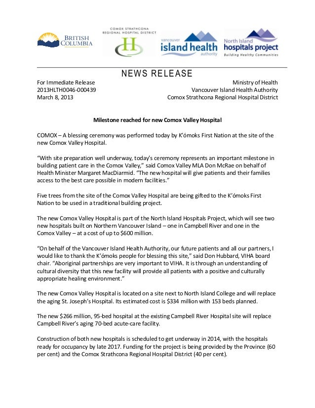 NEWS RELEASEFor Immediate Release                                                       Ministry of Health2013HLTH0046-000...