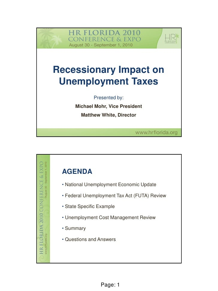 Mohr - Recessionary Impact on Unemployment Taxes