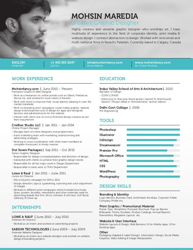 Freelance Graphic Web Designer Resume Calgary Canada Mohsin Mared