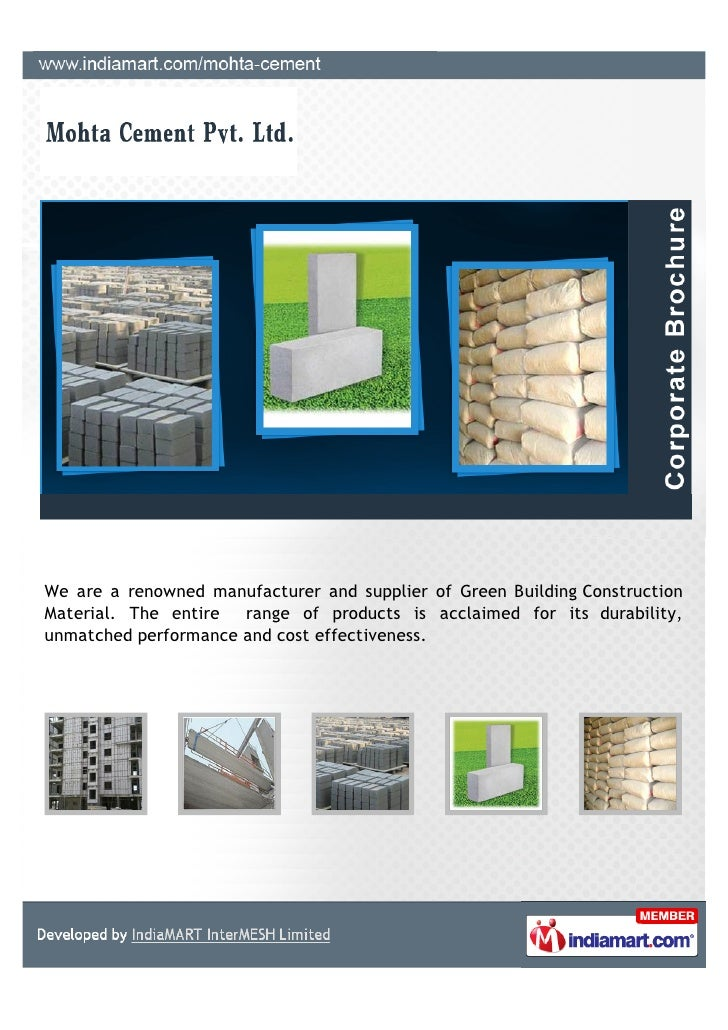 We are a renowned manufacturer and supplier of Green Building ConstructionMaterial. The entire range of products is acclai...