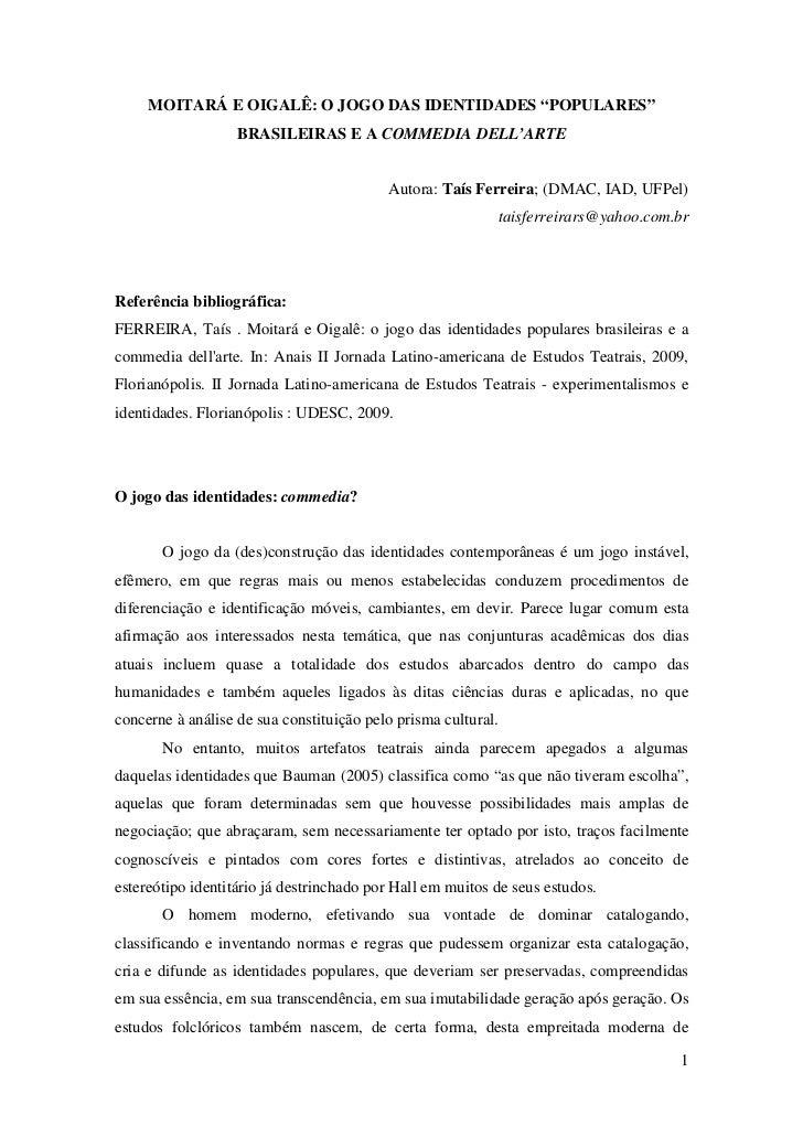 """MOITARÁ E OIGALÊ: O JOGO DAS IDENTIDADES """"POPULARES""""                   BRASILEIRAS E A COMMEDIA DELL'ARTE                 ..."""