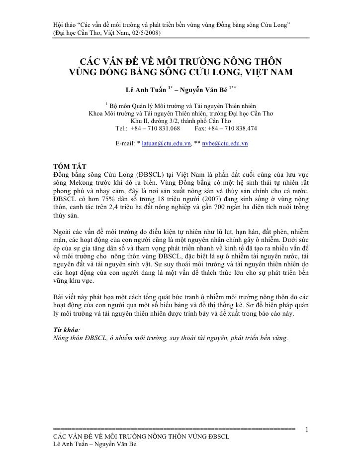 """Hội thảo """"Các vấn đề môi trường và phát triển bền vững vùng Đồng bằng sông Cửu Long"""" (Đại học Cần Thơ, Việt Nam, 02/5/2008..."""