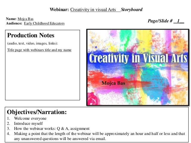 EdCreativity In Visual ArtsStoryboard