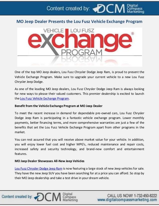 Mo Jeep Dealer Presents The Lou Fusz Vehicle Exchange Program
