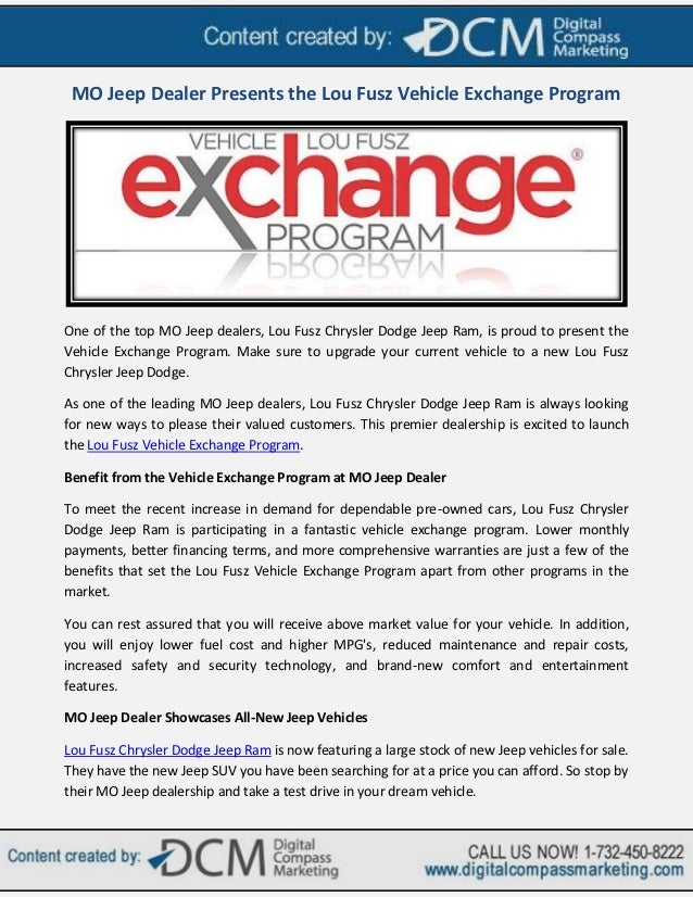 MO Jeep Dealer Presents the Lou Fusz Vehicle Exchange Program