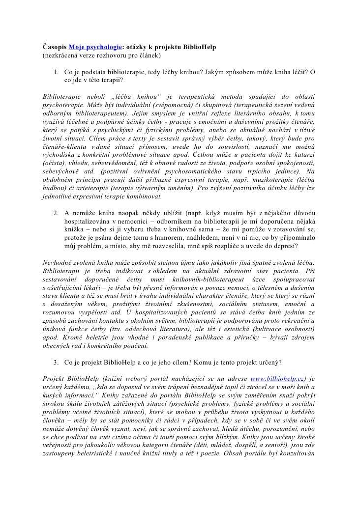 Časopis Moje psychologie: otázky k projektu BiblioHelp (nezkrácená verze rozhovoru pro článek)     1. Co je podstata bibli...