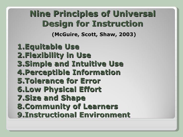 Intro To Principles Of Universal Design For Learning